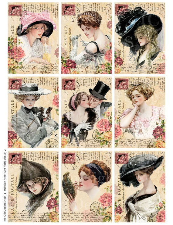 Vintage Harrison Fisher Girls Altered Art by TheOldDesignShop, $3.50
