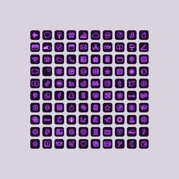 100 Purple Neon App Icons, Neon Aesthetic iOS 14 Icons