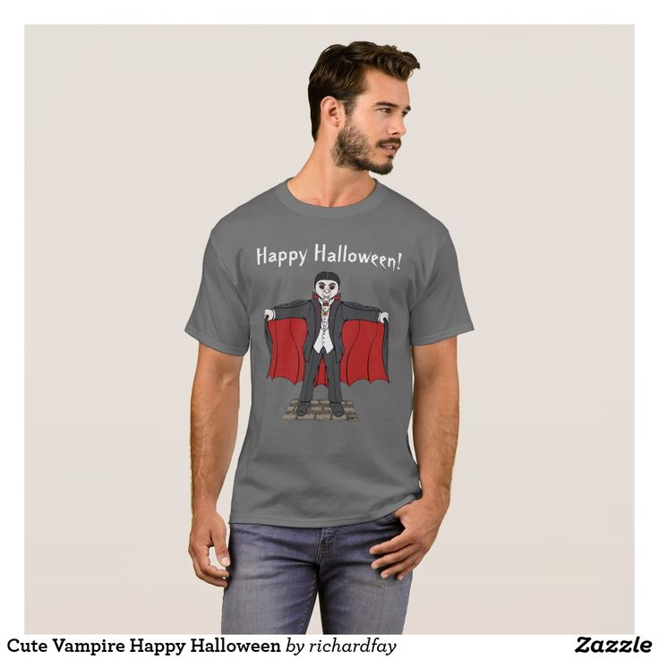 Cute Vampire Happy Halloween T-Shirt.  30% off with code EARTHDAY2017  Today only! #zazzle #T_shirt #shirt #cute_vampire #cartoon_vampire #cute_Dracula #cartoon_Dracula #vampire #Dracula