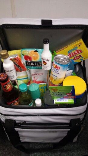 I love the idea of this 'Beach Party' basket.  The items were well thought out and including them in a cooler is pure genius.