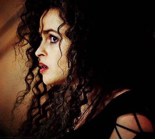 Bellatrix Lestrange. I think she's looking scared. Maybe it's the moment she realized that Voldemort is died.
