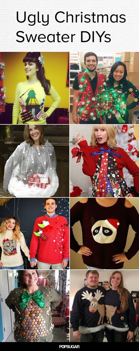Love these DIY ugly Christmas sweaters! For more Christmas sweaters and party ideas visit My Ugly Christmas Sweater at www.MyUglyChristmasSweater.com!