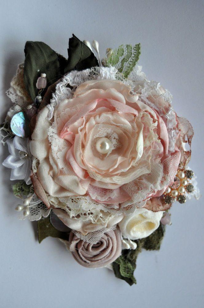 VICTORIAN EDWARDIAN ROSE powder pink brooch dress hat pin vintage wedding peony