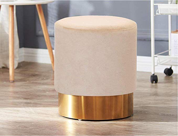 Amazon Living Express Modern Velvet Round Upholstered Ottoman Stool Golden Metal Base Small Living Ottoman In