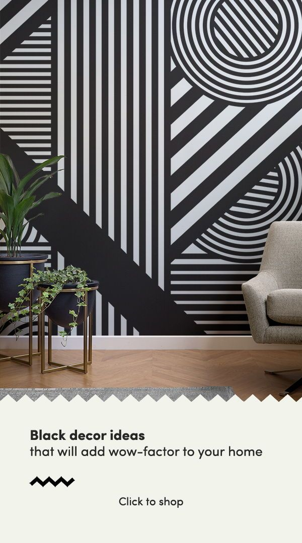 Black White Oriz Geometric Wallpaper Mural Hovia Uk White Wallpaper Black Painted Walls Black And White Wallpaper Black geometric wallpaper uk