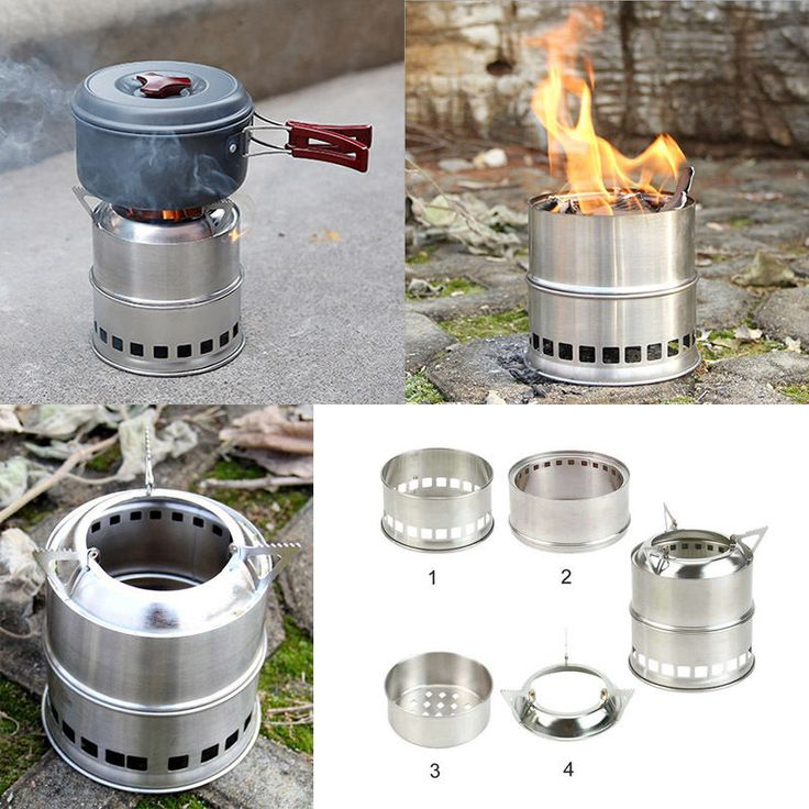 Wood Gas Alcohol Burning Outdoor Camping Picnic BBQ Stove Cooker Stainless Steel in Sporting Goods, Camping & Hiking, Camping Cooking Supplies | eBay
