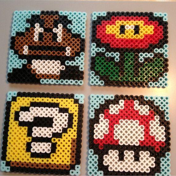 Set of 4 Mario Bros Coasters, Mushroom, Flower Power, Block, and Goomba, Perler Coaster, Hama Beads