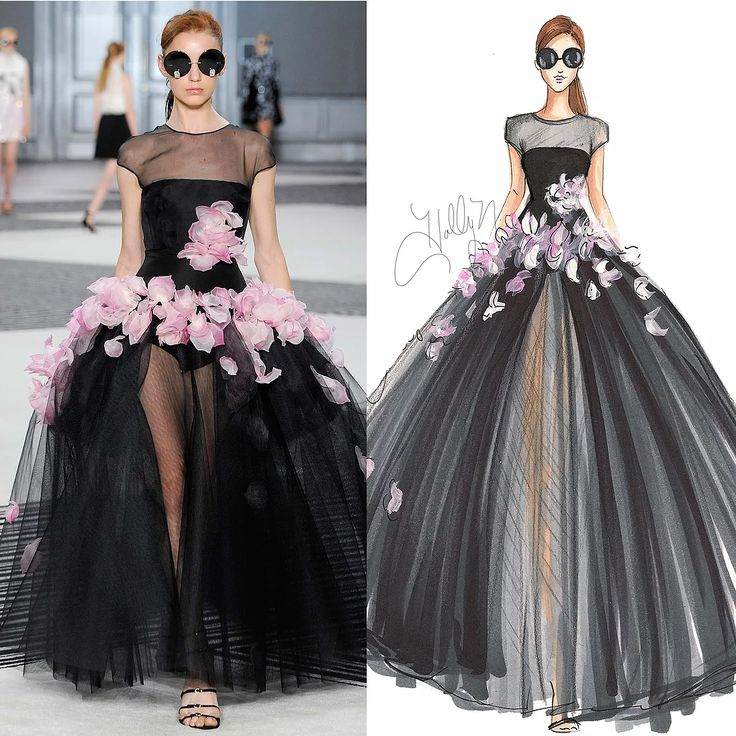 My aboslutle favorite runway shows are the couture shows (it is my dream to see them in person one day). Similarly, my favorite looks to sketch are couture loo