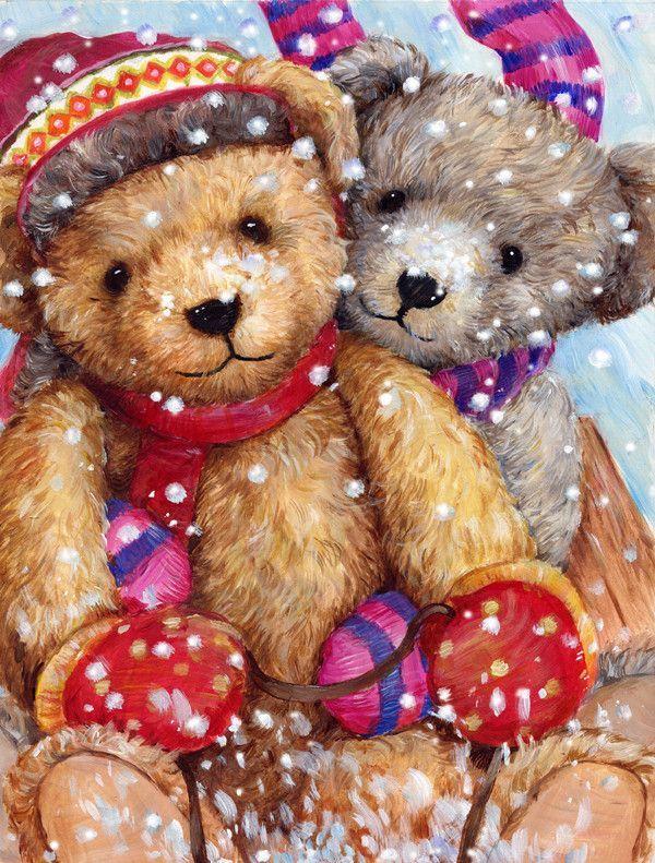 Winter Snow Teddy Bears 2-Sided Garden Flag