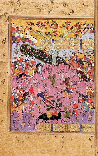 Illustrated leaf from a large manuscript of the Shahnama of Firdausi: Rustam killing Ashkabus, having first killed his horse, Shiraz, Safavid, Persia, circa 1570 gouache with gold on paper, text written in four columns of nasta`liq script in black ink, interlinear and intercolumnar illumination, margins ruled in colours and gold, border decorated in gold with animals, birds and floral motifs...