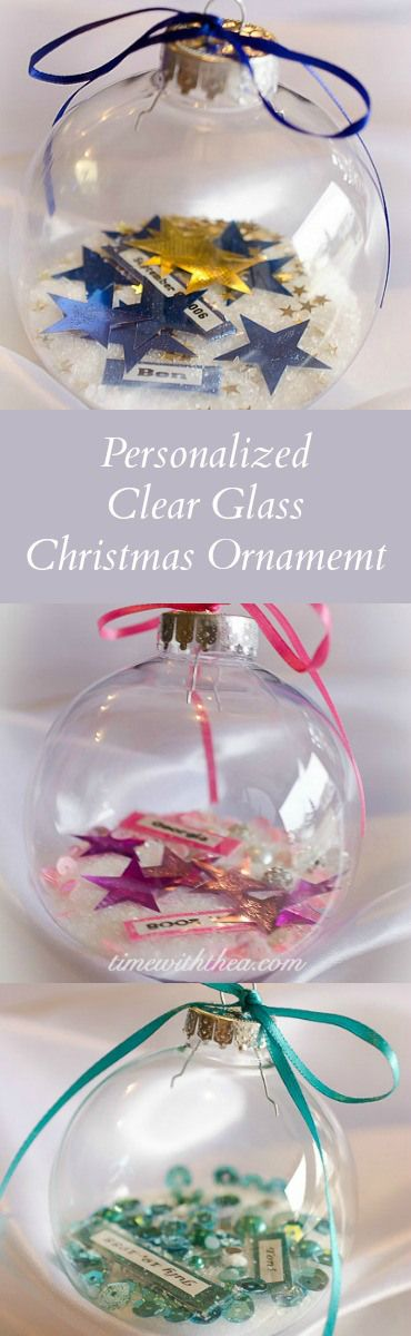 Personalized Clear Glass Christmas Ornament Gift ~ scroll on down to find more homemade gift ideas to make for the holidays...