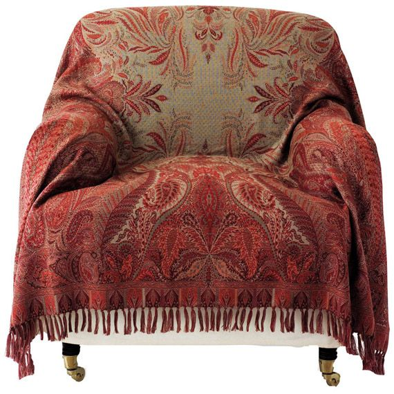 Antique-Style Paisley Wool Throw