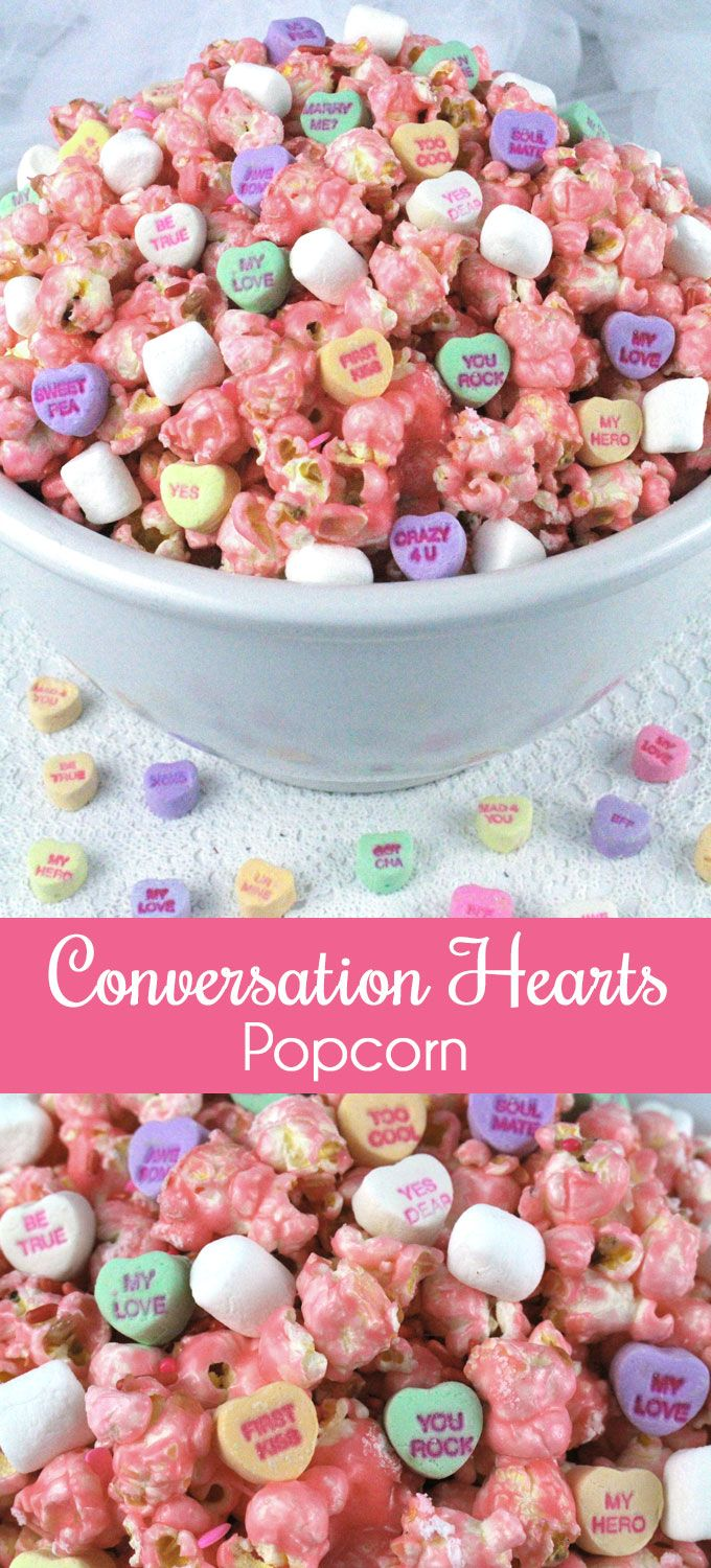 Tell those special people in your life that you love them with our Conversation Heart Popcorn. Sweet, salty and delicious - it is a great Valentine's Day Treat. If you are looking for an extremely easy to make Valentines' Day Dessert - this is the one! Follow us for more fun Valentine's Day Food Ideas.