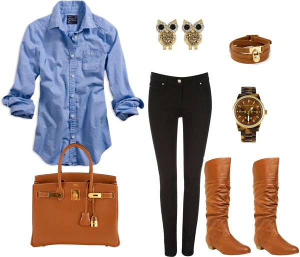 Chambray. Skinny. Boots