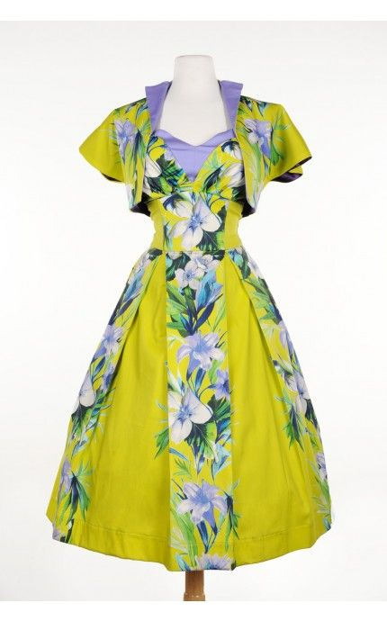 Pele Dress in Chartreuse and Lavender Hawaiian Floral with Matching Bolero