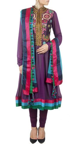 Purple color anarkali kurta – Panache Haute Couture http://panachehautecouture.co.in/collections/suits/products/purple-color-anarkali-kurta