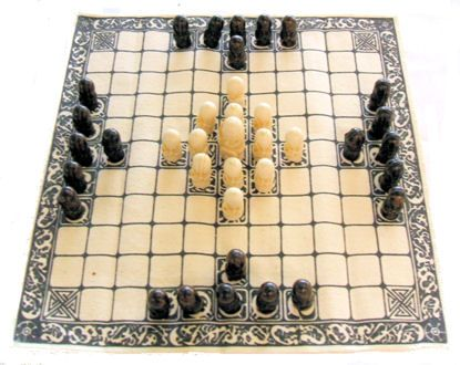 Elliott Avedon Virtual Museum of Games:  Tafl Games - Tafl...was the older version of hnefatafl, the later name of a board game which was already played by the Scandinavian peoples before A.D. 400.  It was carried by the Norsemen to Iceland, Britain, and Ireland, and spread to Wales.  It was the only board game played by the Saxons.
