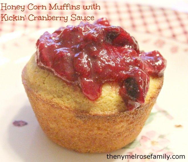 Honey Corn Muffins with Kickin Cranberry Sauce