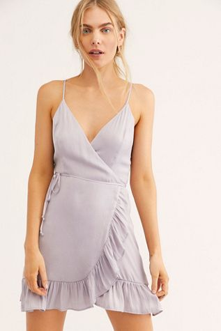 ddf68897f6f All My Love Shine Wrap Slip - Light Lilac Sleeveless Shiny Wrap Dress - Mini  Wrap Dress - Wrap Mini Dress - Lilac Mini Dress - Summer Dresses