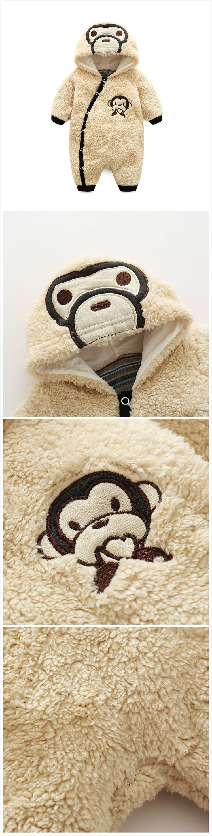 Cartoon Monkey Cashmere Baby Infant Toddler Boy Girl Hooded Winter Warm Jumpsuit Cloth Outfits