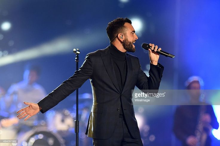 Marco Mengoni performs at the Milan Music Week World Stage ahead of the MTV EMA's 2015 at Piazza Duomo on October 24, 2015 in Milan, Italy.