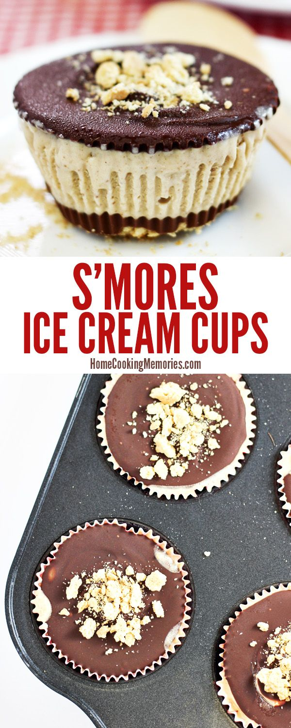 If you love s'mores, you're gonna love this! Frozen Smores Ice Cream Cups with marshmallow ice cream, chocolate and graham cracker crumbs! Includes bonus instructions on how to make easy toasted marshmallow ice cream from store-bought vanilla ice cream.