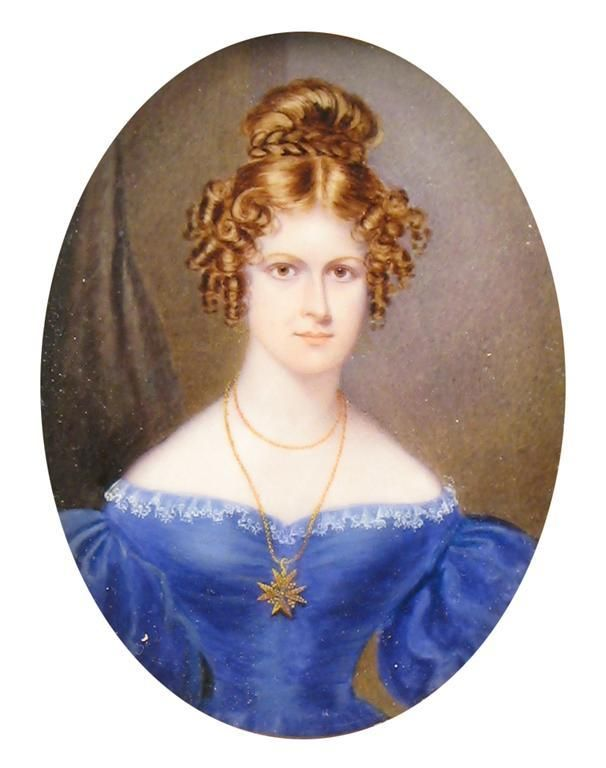 William C. Hudson (1782-1850) Portrait of a lady wearing a royal blue dress and Maltese cross Signed, dated 1834 and inscribed with the artist's address 71 New Bond St verso Oval, 95 x 74mm