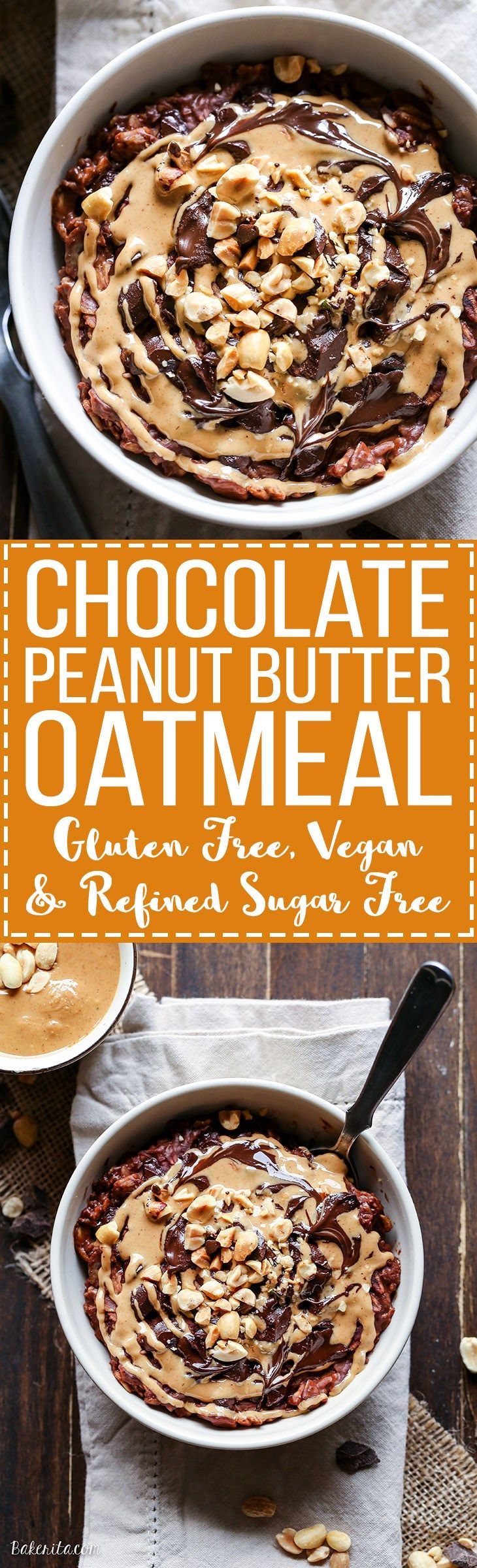 This Chocolate Peanut Butter Oatmeal tastes like a peanut butter cup, but it's sweetened with just a ripe banana! You'll love to wake up to this gluten-free, refined sugar-free + vegan breakfast. (Almond Butter Overnight Oats)