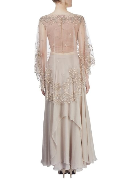 Beige embroidered cape with skirt