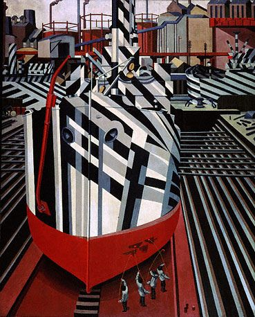 Dazzle Ship by Edward Wadsworth, who also designed dazzle patterns themselves