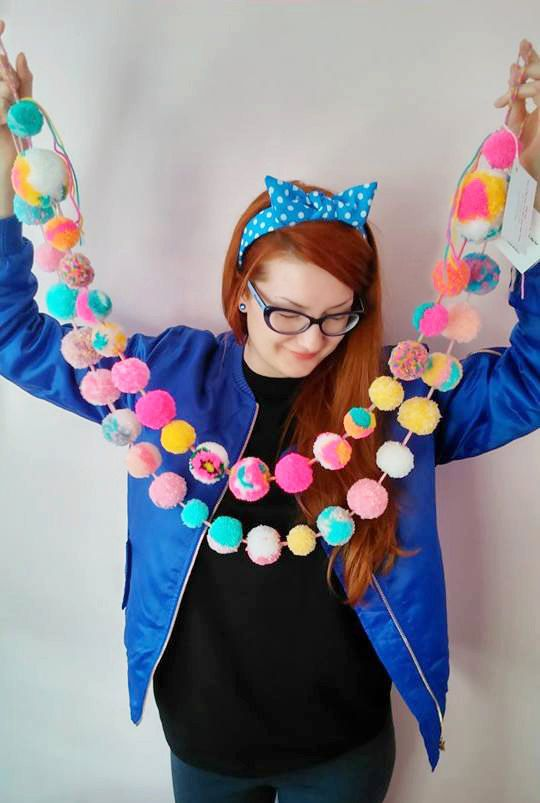 Pastel and Neon mix Garland pom pom garland kawaii by FrillyPops