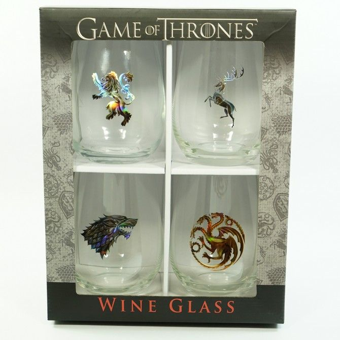 Game of Thrones Stemless Sigil Wine Glass Set [Set of 4]