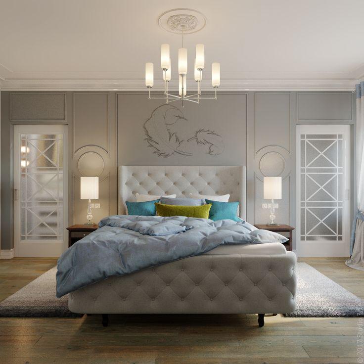 """Обстановка спальни из проекта """"Уютная классика"""". По обе стороны кровати – раздвижные двери в гардеробную."""