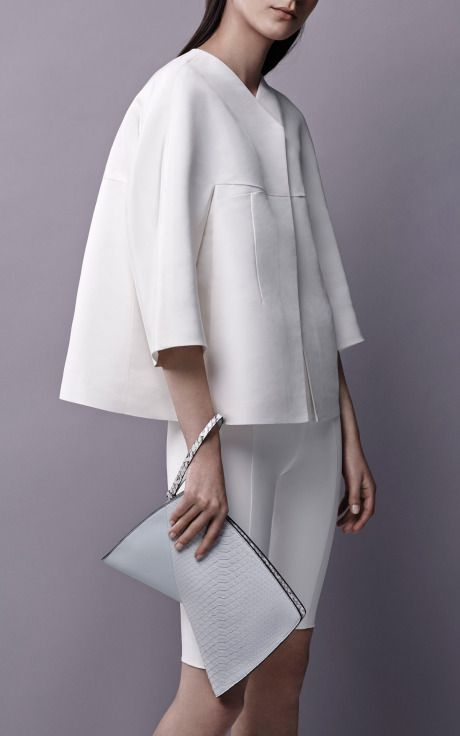 Cropped Voluminous Silk Faille Jacket by Narciso Rodriguez for Preorder on Moda Operandi
