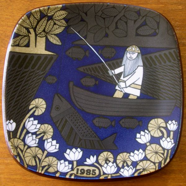 The Kalevala plates of Finland: The picture shows a fishing Väinämöinen in his boat. In the water is a huge fish and also small ones.