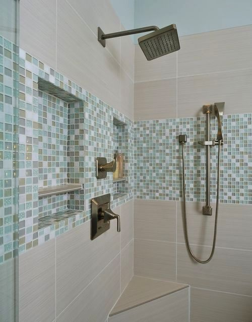 Bathroom design trend #4:Shampoo nichesbuilt for beauty and function. Many times these niches can bring some style, color, and texture to a surround of plain surfaces. Make these larger than necessary so they can become a focal point in your shower.