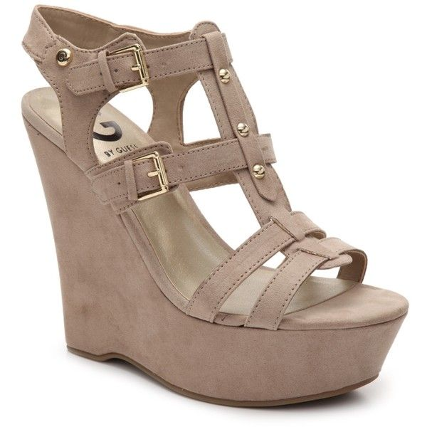 G by GUESS Hippo Wedge Sandal ($50) ❤ liked on Polyvore featuring shoes, sandals, wedge heel sandals, wedge sandals, wedges shoes, platform shoes and platform sandals