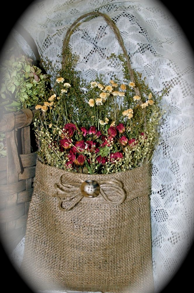 Handmade Dried Flower Arrangement in Burlap Bag/Primitive/Rustic/Red Roses/Sweet Annie