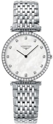 L4.513.0.87.6NEW LONGINES LA GRANDE CLASSIQUE LADIES WATCH Usually ships within 3 months   - FREE Overnight Shipping | Lowest Price Guaranteed- NO SALES TAX (Outside California) - WITH MANUFACTURER SERIAL NUMBERS- White Mother of Pearl Diamond Dial- 12 Diamonds Set on Dial (0.034 carats)- 56 Diamonds Set on Bezel (0.470 carats)- Battery Operated Quartz Movement- 3 Year Warranty- Guaranteed Authentic- Certificate of Authenticity- Stainless Steel Case