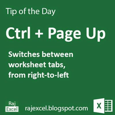 Learn Microsoft Excel: Using Ctrl + Page Up - Switches between worksheet tabs, from right-to-left