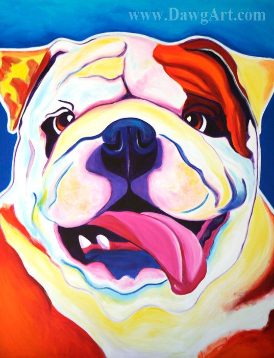 Colorful Pet Portrait Bulldog Dog Art Print 8x10 by by dawgpainter, $14.00