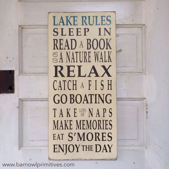 Lake Rules Vintage Style Typography Word Art by barn owl primitives