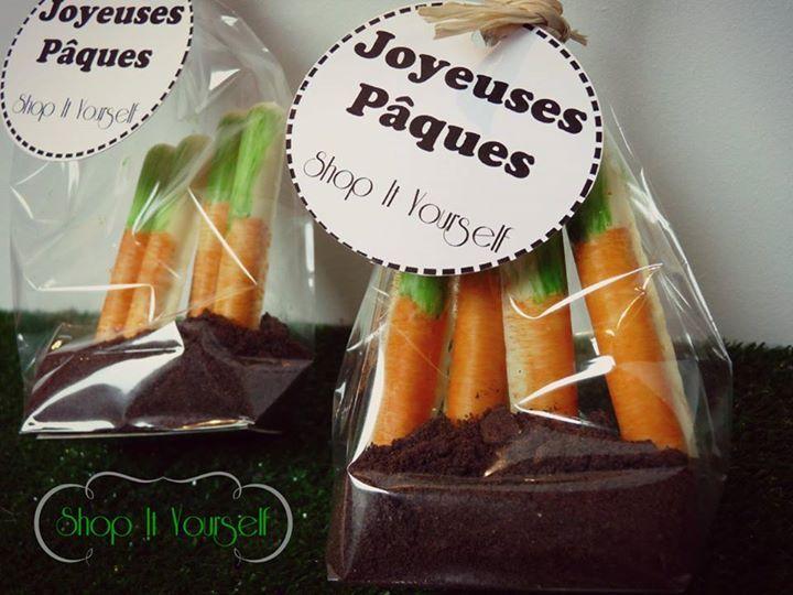 Idée de cadeau d'invité pour Pâques. Kit de réalisation en vente sur le site.  Carotte potager finger oreo.  Idea of favors for Easter. carrot. DIY