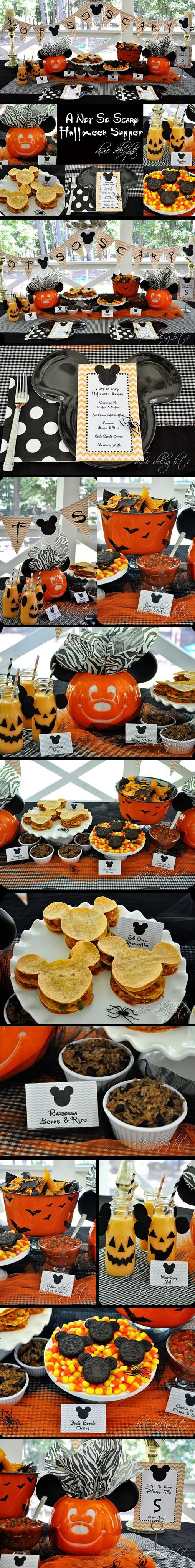 Disney Halloween Party | Some great ideas for a Mickey's Not-So-Scare Halloween Supper Buffet.  (I have seen the Mickey Mouse shaped plates at Target.)