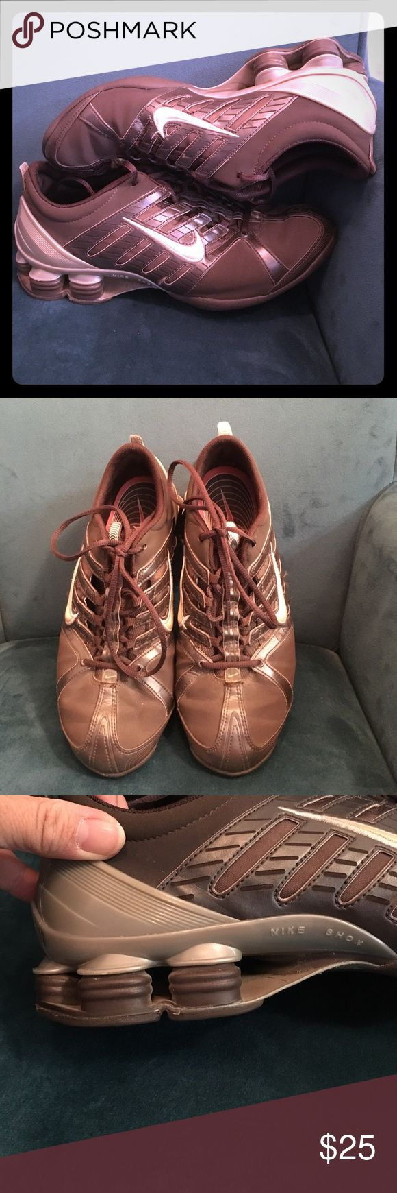 Retro Nike Shox shoe, 8.5, GUC, secret pocket These Nike chocolate brown with cream swish need someone to love them again. They are a true 8.5 (my foot has shrunk). Easy to make wider or narrow. See last pics for secret pocket for key, cash or condom🙀. The backs have gray. I used them for weight training not for running, so not sure if great for running, good for gym. Nike Shoes Athletic Shoes