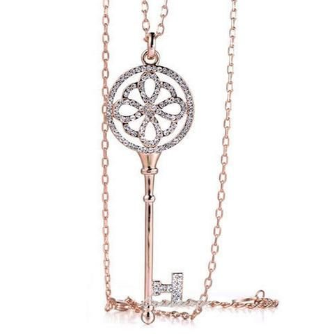 Brielle Crystal Key Long Necklace