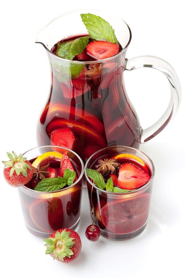 For your own slimline pitcher  Try this sangria recipe that swaps out some of the sugary fruit and booze for healthier alternatives:   1.5 bottles red wine 60ml triple sec 475ml sparkling lemon/lime/orange-flavored water (make sure the brand you choose has no added sugar) 1 pear diced 175g fresh strawberries, diced 2 oranges diced or sliced (not peeled) 175g pineapple chunks 60ml orange juice  Calories: 152 per serving (the recipe serves 10)