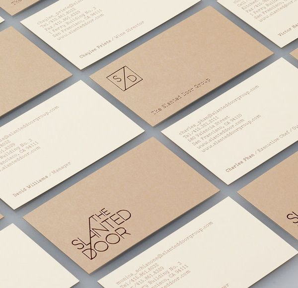 Logo and business card with copper foil print finish for Vietnamese restaurant The Slanted Door designed by Manual.