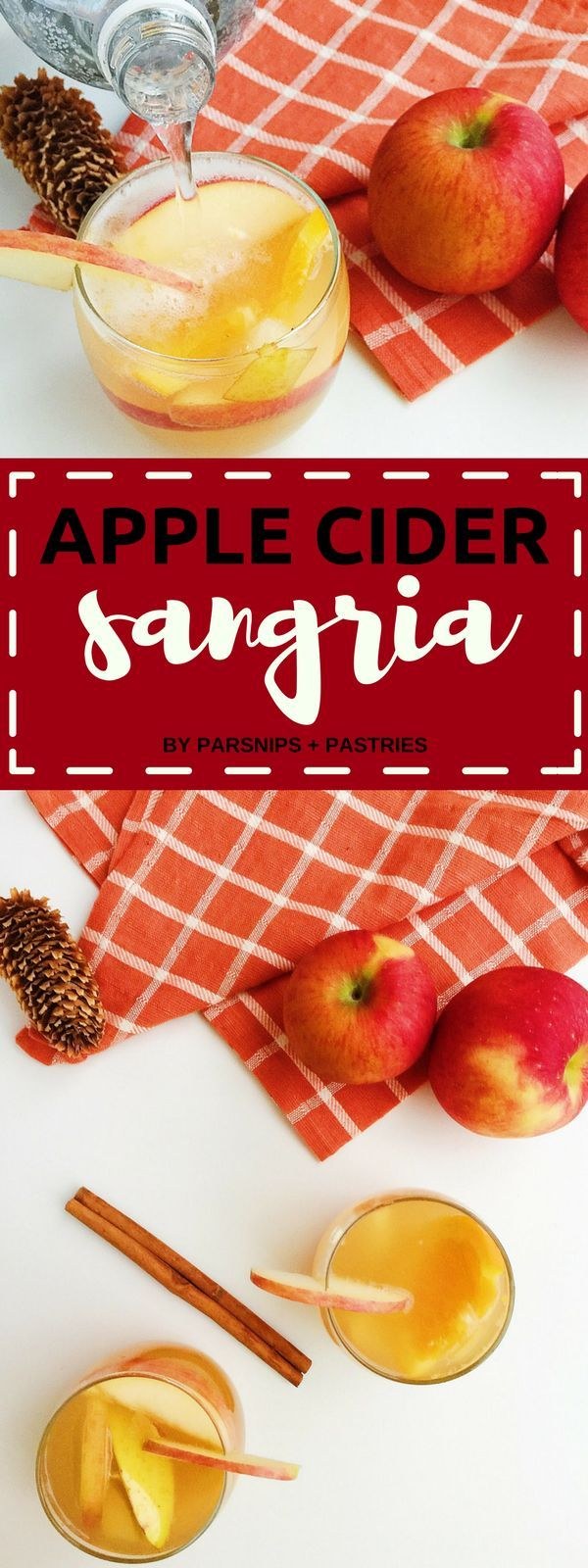 This Apple Cider Sangria is the perfect fall drink. Made with spiced apple cider, white wine, fresh fruit, brandy, and warm autumn spices. Cheers!