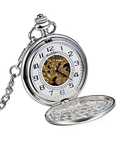 50% OFF SALE PRICE - $20.99 - Mudder Classic Smooth Surface Silver Mechanical Pocket Watch with Chain